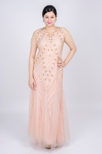 8dc63870046a Sheer Short Sleeve Godet Gown with Floral Beading